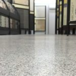 Retail store with new flake resin flooring